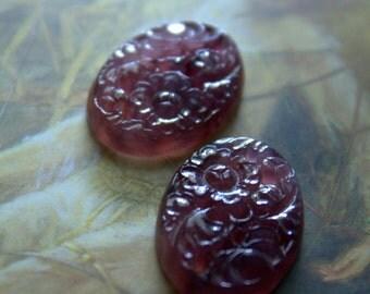 2 Vintage Amethyst Purple Carved Glass Floral Japan 25x18 Stone