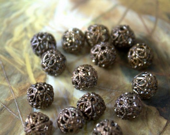 12 Vintage Old Brass Gorgeous Filigree 7mm Beads
