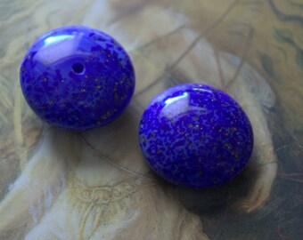 2 Vintage Amazing Italian Venetian Old Cobalt Glass 21mm Stones
