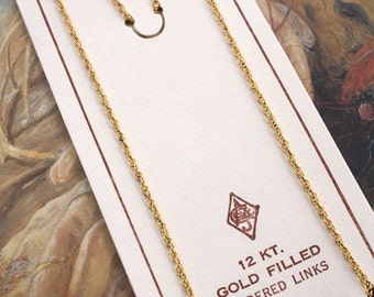 """Rare OLD Vintage 12KT GOLD Filled Chain Jewelers Stock - 15"""""""