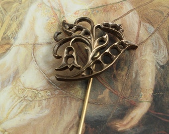 Vintage OLD Solid Brass Ornate Openworked Pin