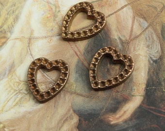 3 Vintage Very OLD Solid Brass Little Art DECO Heart Pieces