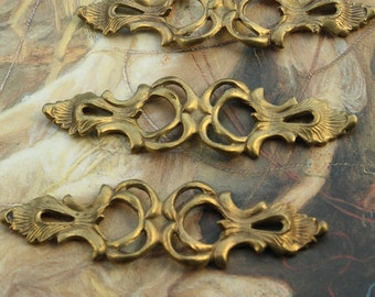 3 Vintage RARE Old Brass Open work Floral Gorgeous Pieces