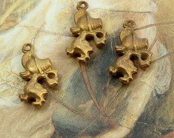 3 Vintage Old Brass Puffed Baby Duck Bonnets Charm Pendants