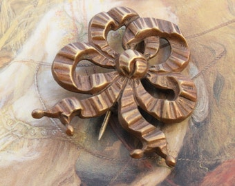 Vintage Old Brass Art Deco Bow Pin Brooch