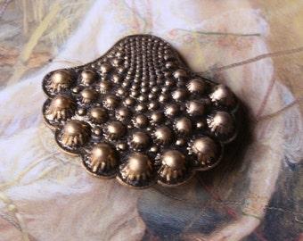 Vintage Gorgeous Hobnail  Art Deco Original Brass Button Cover Buckle
