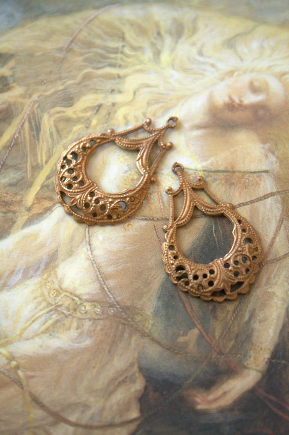 2 Vintage Delicate Old Brass Ornate Filigree Drop Pendants