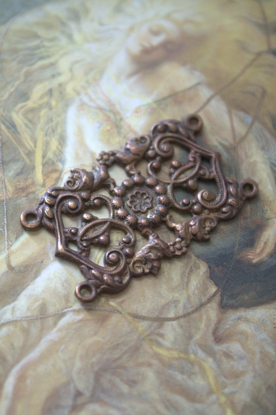 Vintage RARE Amazing Openwork Detailed Old Brass Pendant