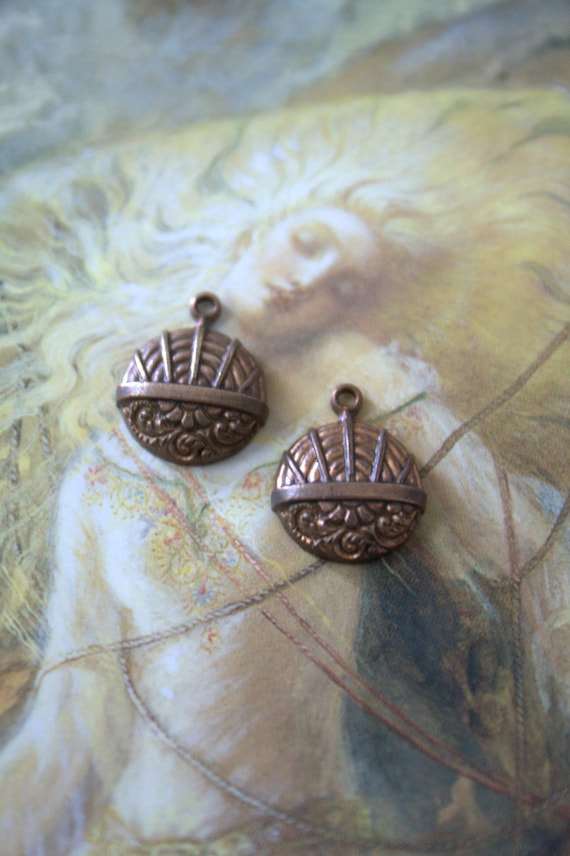 2 Vintage Old Brass Very Art Deco Charms