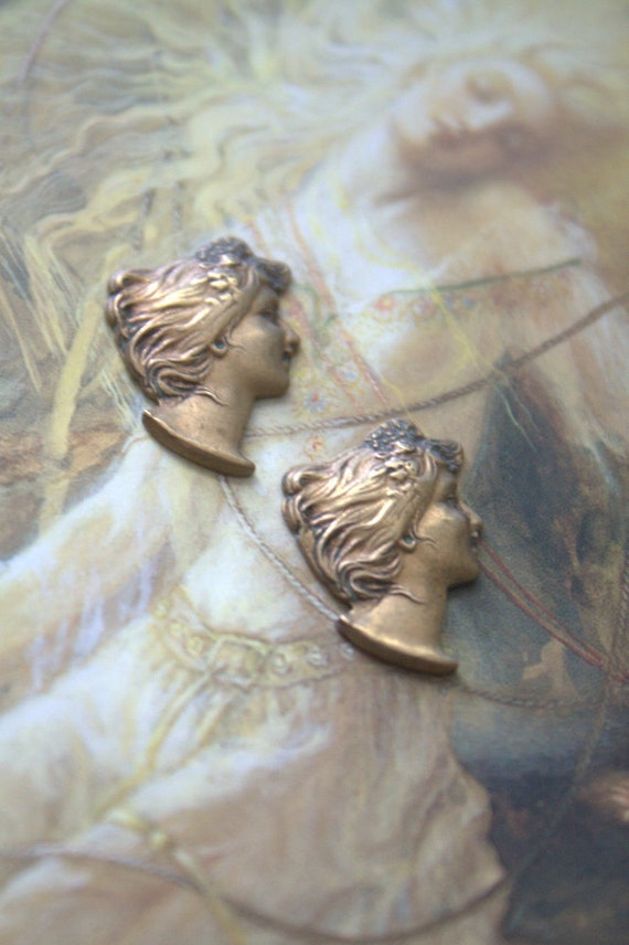 2 Vintage Beautiful Old Brass Art Deco Woman Pieces