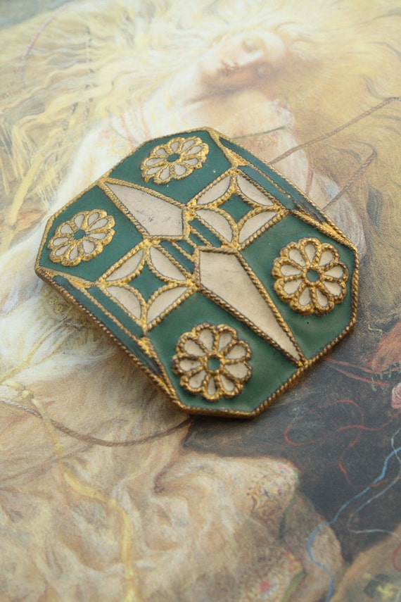 Vintage AMAZING RARE Original Old Brass Matte Enamel Green and Ivory Buckle