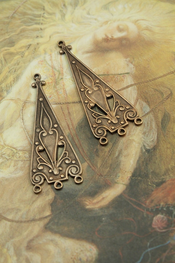 2 Vintage Gorgeous Art Deco Old Brass Openwork Pendant Pieces