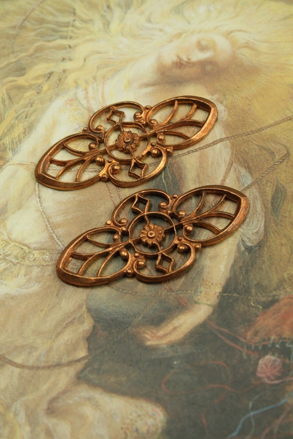 2 Vintage SUPERBLY Detailed DECO Old Brass Openwork Pendants