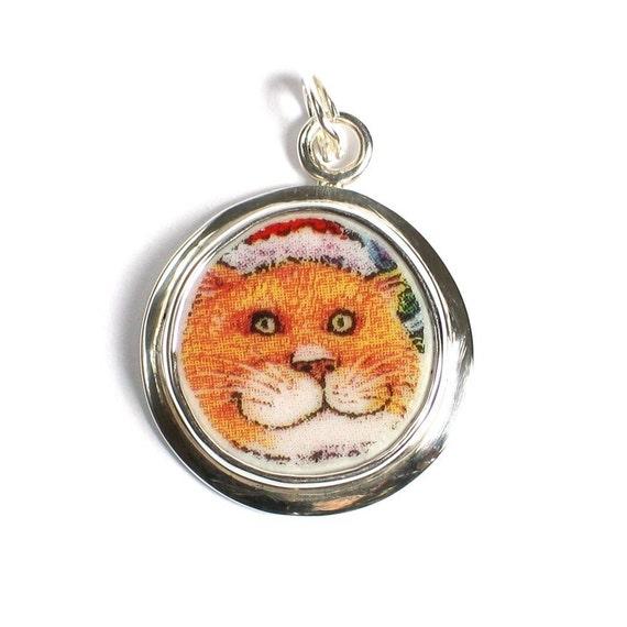 Broken China Jewelry Orange Cat Charm