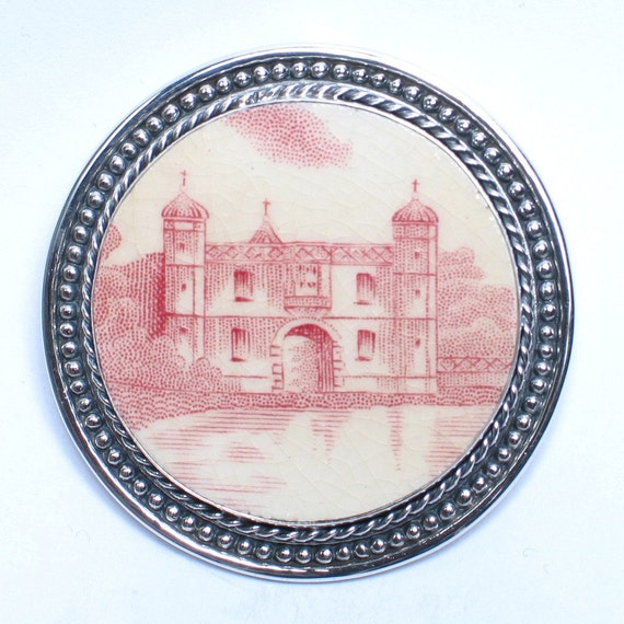 Broken China Jewelry - Johnson Brothers Castle - Sterling Silver Pin Brooch