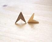 Brass Arrow Stud Earrings (18kt gold plated)