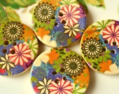 ON SALE -30%, Wood buttons 4pcs 30 mm, Big Round Colorful Flowers Design Wooden Buttons Accessories