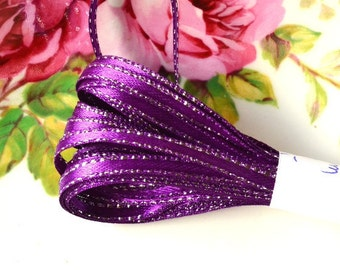 Violet Satin Ribbon 6 meters Beautiful Sparkling Trim