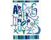 Alphabet Sampler, Blue, Cross Stitch Pattern, PDF file