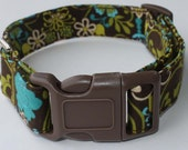 Green Blue and Brown Floral Dog Collar Size XS, S, M or L