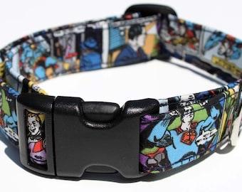 Superman Dog Collar Comic Panel Size XS, S, M or L
