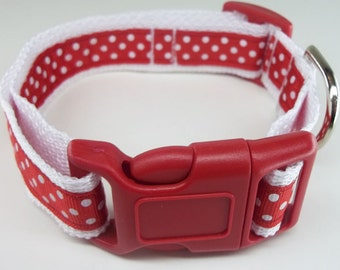Red & White Polka Dot Dog Collar Size XS, S, M or L