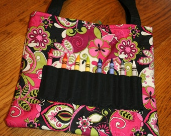Black and Pink Floral  Crayon Tote