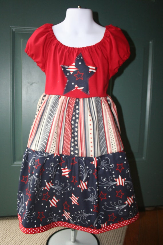 Red, White and Blue Peasant Style Dress-Size 6