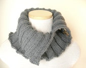 Slate Grey Neckwarmer / Button Cowl Scarf / Hipster Style