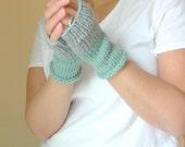 Knit Hand Warmers, Fingerless Gloves, Color Block Seafoam Green Grey