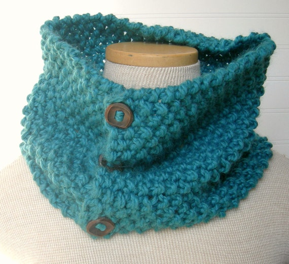 Knitted Cowl Pattern With Buttons : Hand Knit Button Up/ button down Cowl Scarf by WindyCityKnits