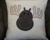 Moose Appliqued Fleece Pillow Cover