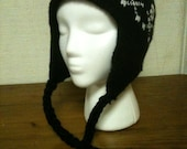 Knit Earflap Hat,  Skulls and  Crossbones, Adult