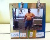 Slatted Wood Clothspin Frame, Fishing Frame,6x6, Hook Line and Sinker Beach Frame, Weathered Wood Frame