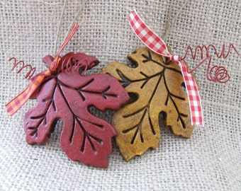Autumn Leaf Ornaments, Salt Dough, Maple Leaf Ornaments, Leaf Napkin Rings - Set of 3