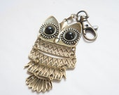 Antiqued Brass Owl Key Chain