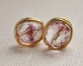 Earrings studs amethyst /crystal czech glass ,nickel free gold plated copper wire