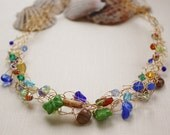 Colorful gold plated necklace, wire crochet jewelry, ooak, czech glass
