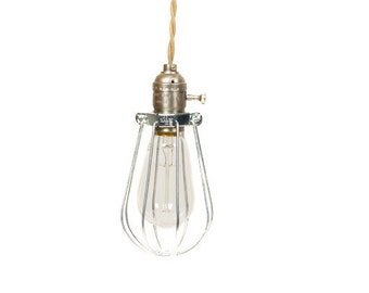 Vintage Industrial Caged - Silver Minimalist Bare Bulb Pendant Light