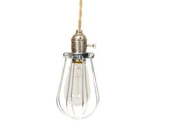 Vintage Industrial Caged - Silver Minimalist Bare Bulb Pendant Light
