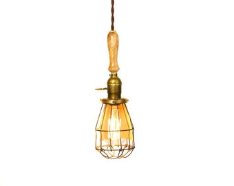 Vintage Farmhouse Wood Handle Caged Trouble Light Pendant ( Natural )