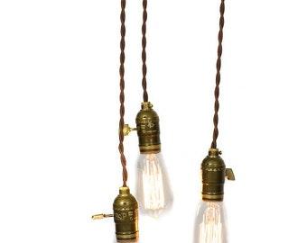 Simply Modern Minimalist Bare Bulb 3 Light Chandelier