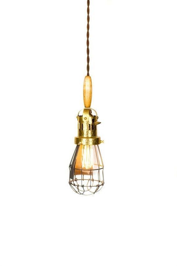 Hammered Brass Industrial Vintage Style Trouble Light