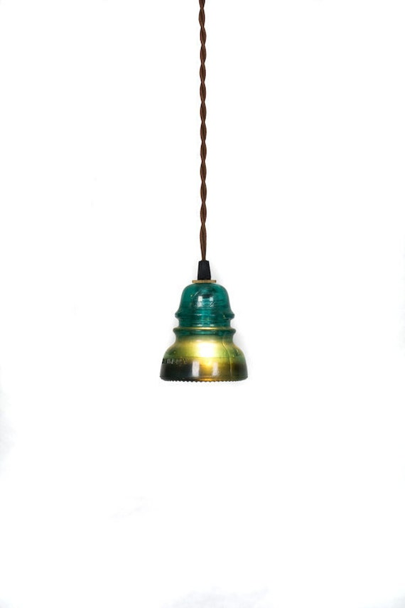 Vintage Repurposed Railroad Telegraph Insulator Pendant Light ( Green or Clear )