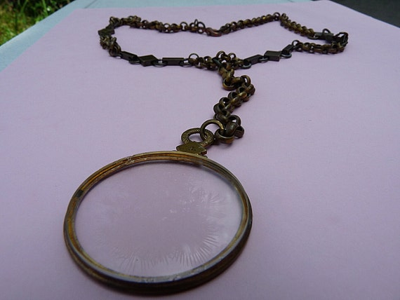 Antique Monocle Necklace A View From The Past --Handmade Vintage--