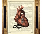 Valentine's Day Anatomical Heart with Keyhole and Key to your Heart - Vintage Victorian Book Page Art Print Steampunk
