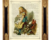 Alice in Wonderland with the Animals color - Vintage Victorian Book Page Art Print Steampunk