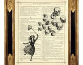 Halloween Girl catches Skull Balloons - Vintage Victorian Book Page Art Print Steampunk