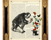 Gentleman with Butterflies and Top Hat Magic  - Vintage Victorian Book Page Art Print Steampunk