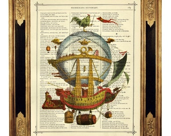 Airship Hot Air Balloon I - Vintage Victorian Book Page Art Print Steampunk